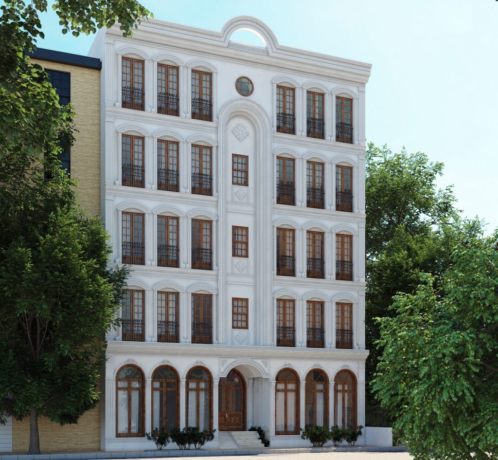 white classic facade in street