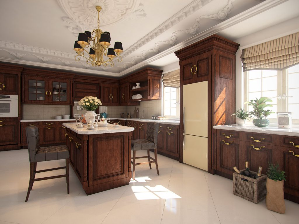 3d render of classic kitchen