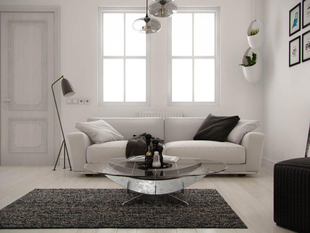 sofa in Scandinavian white room