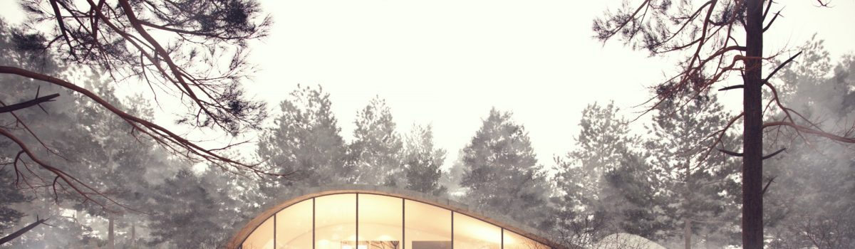 curved villa in woods