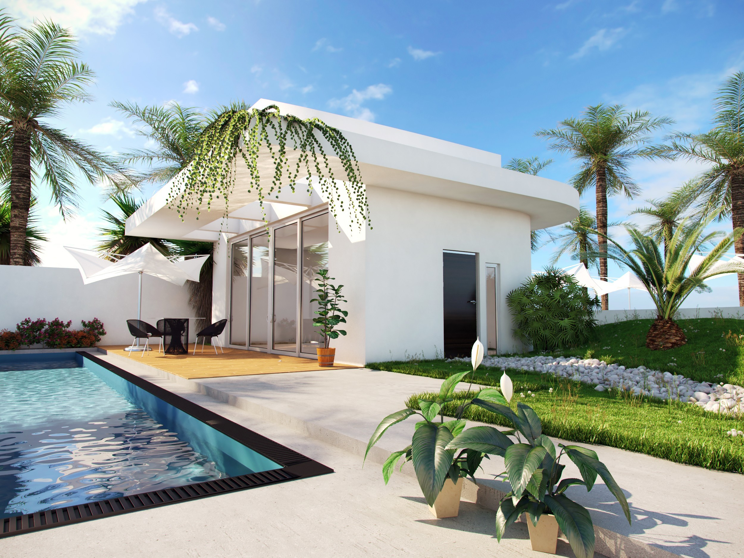 3d render of modern white villa next to the pool