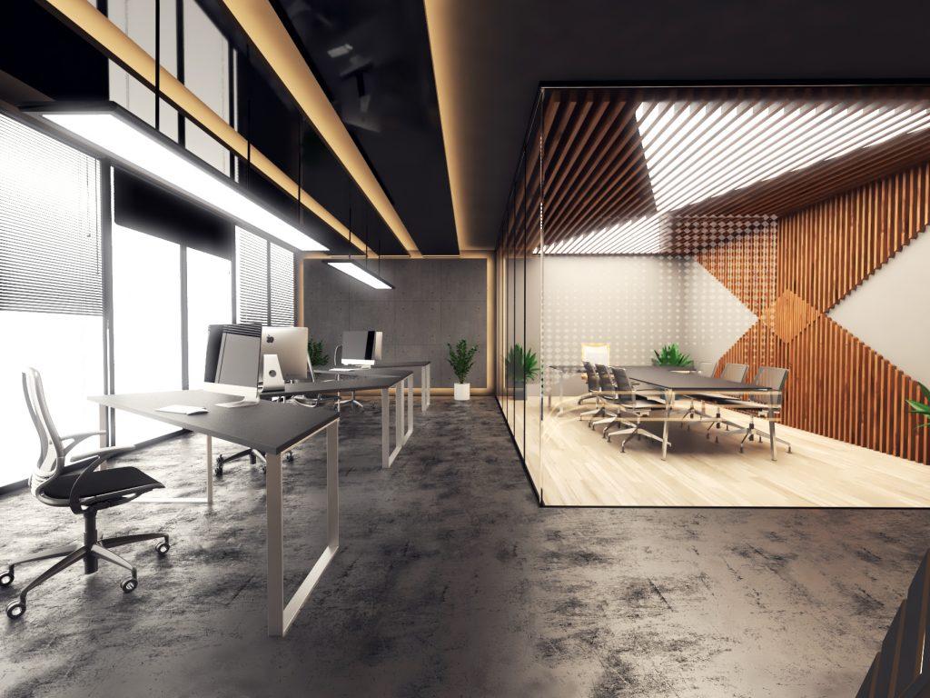 3d render of black office interior