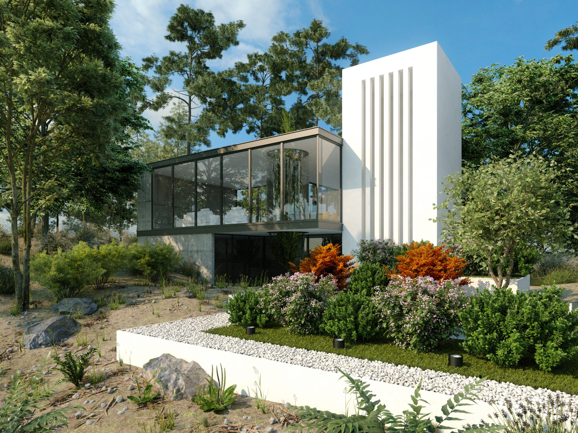 3d render of modern villa in the woods