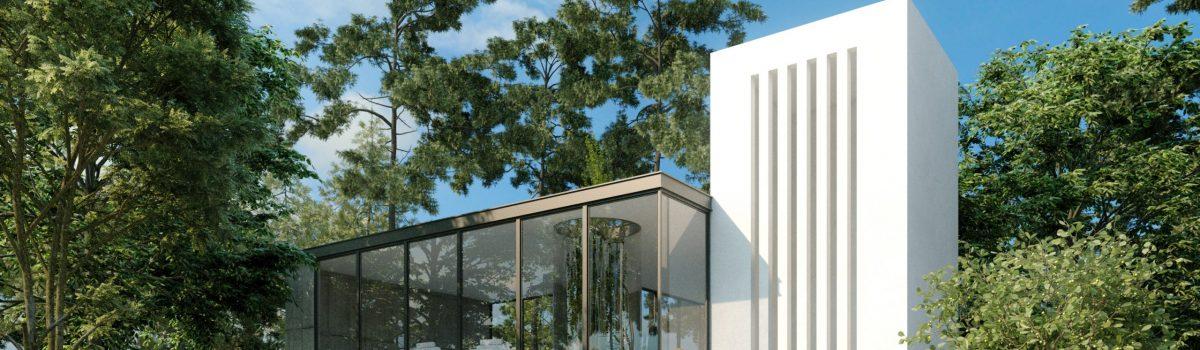 modern villa in the woods