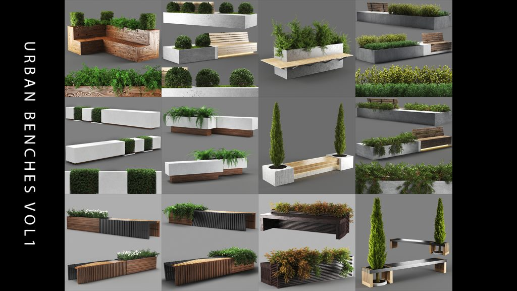 3d benches 3d model