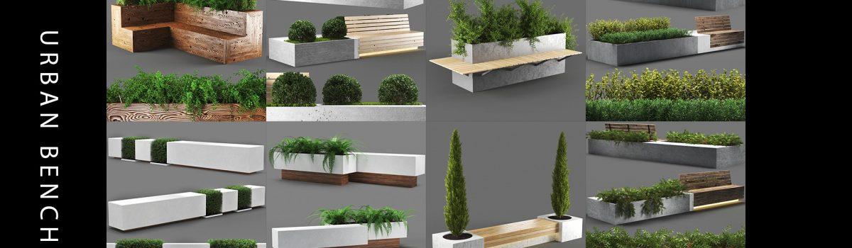 urban modern benches 3d model
