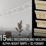 wall ornament and molding alphas + 3d model