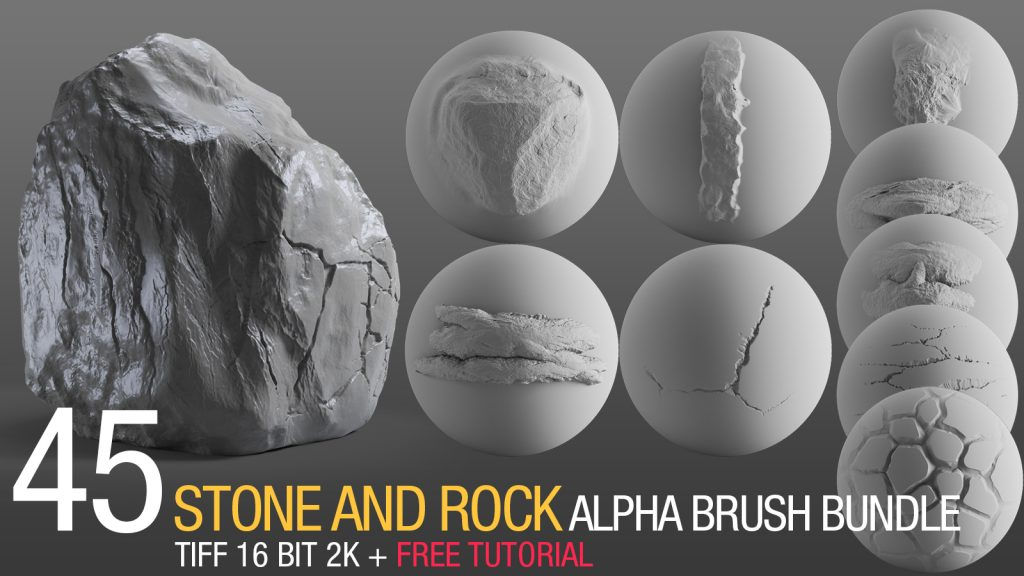 stone and rock alpha brush bundle