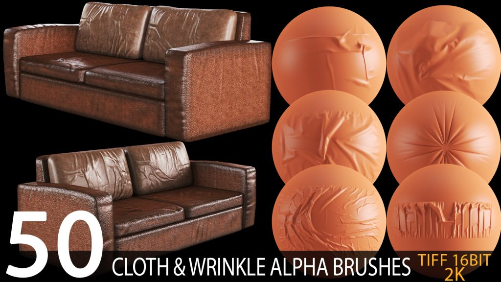 cloth and wrinkle alpha brush bundle