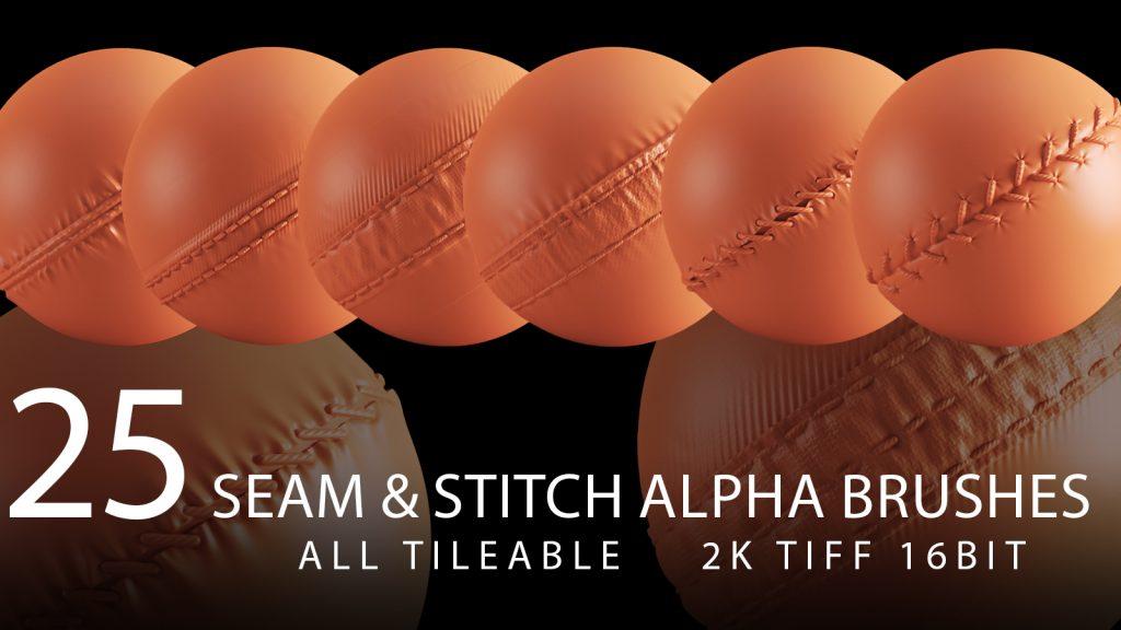 seam and stitch alpha brush bundle