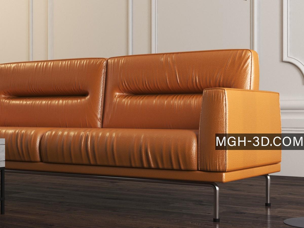 free leather sofa 3d model